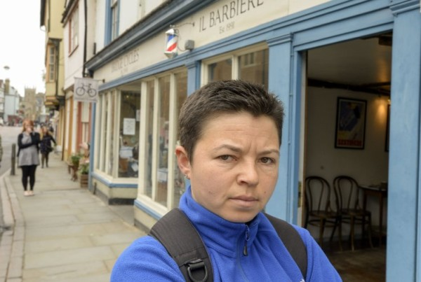 """Anna Kaminski who was refused a haircut in a men's barber. See MASONS story MNBARBER; A young woman yesterday (sun) told how she was thrown out of a traditional mens' barbershop when she popped in and asked for a quick trim. Anna Kaminski, 34, said she felt 'mortified' after being ordered to leave into Il Barbiere in Cambridge, Cambs, in front of male customers. Ms Kaminski wears her hair in a cropped style and has visited barbers for years but says she was told 'Ladies is that way', by a barber who pointed out the door. Anna said: """"I have short hair and I've been getting my hair cut in barbershops for many years. This has never been a problem and no place has ever turned me away."""
